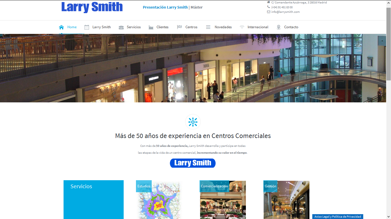 Captura de Página Web de Cliente Larry Smith