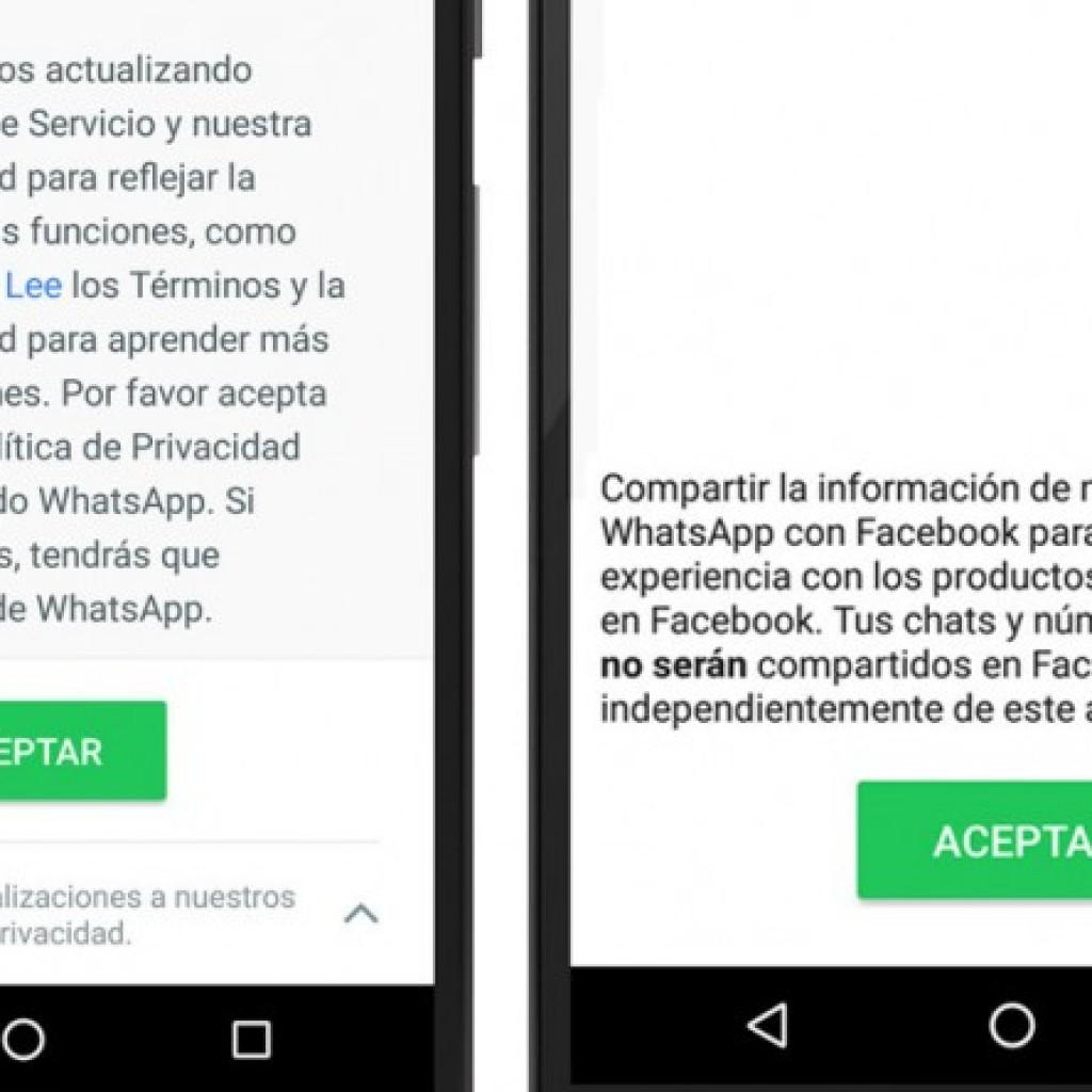 Terminos y condiciones Whatsapp con Facebook